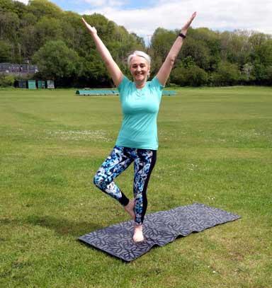 Yoga classes in Cardiff. Teacher Amanda Powell teaches at Creigiau Recreation ground.